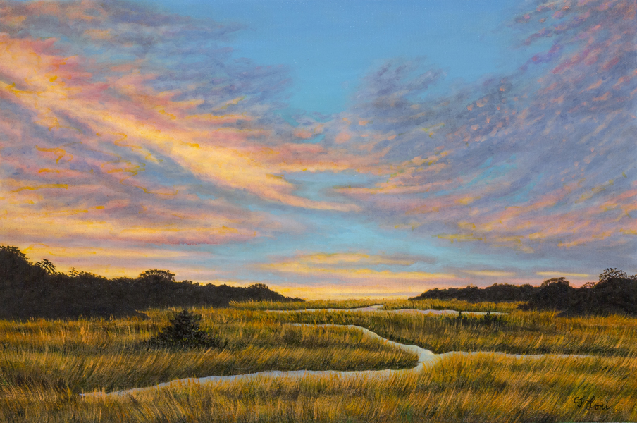 "Off Jones lane, Barnstable County — oil on canvas, 24 x 36"", 2017"