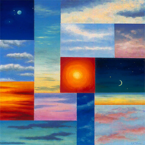 "FOURTEEN SKIES, oil on wood, 12 x 12"", 2005 (Private Collection)"