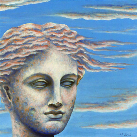 "HYGEIA IN THE CLOUDS, oil on wood, 12 x 12"", 2004 (Private Collection)"