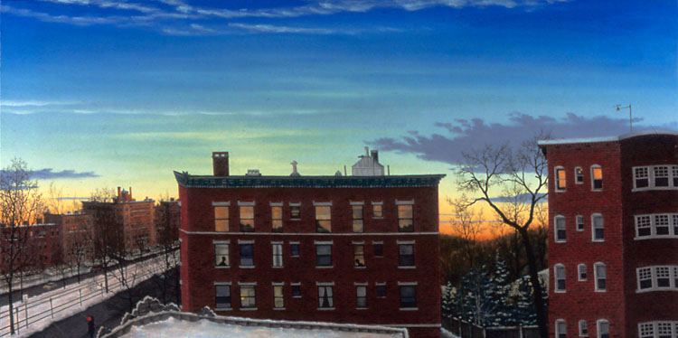 "WEST ON BEACON, NEW YEAR'S DAY, oil on canvas, 24 x 48"", 2005 (Private Collection)"