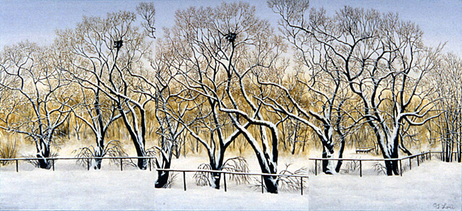 "WINTER WILLOWS AT HALLS POND, oil on wood, 10 x 22"", 2008 (Private Collection)"