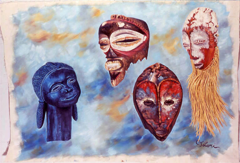 "MASKS III: TRIBAL SORORITY oil on unstretched canvas, 40 x 60"", 1989"
